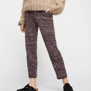 Free People Cozy Knit Deep Red Trouser Pants XS